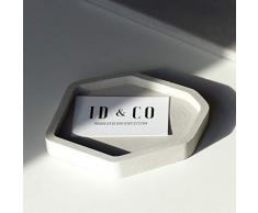 Atelier Ideco - Gris Plato de Hormigón Clave, Decorativo Con Asistencia Bandeja, Exhibición de la Joyería Geométrica, Plato de Jabón, Platillo de Maceta de Cemento Con Drenaje