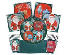 THE TWIDDLERS Vajilla Festiva para Fiesta de Navidad – Disenos Mesa Navidenos - Decoracion Desechable – Cena Vasos, Mantel, Platos y Servilletas