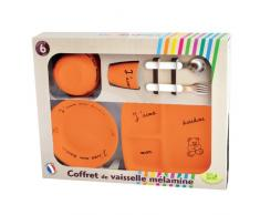 Vajilla de melamina decoración naranja PLASTOREX Lote I love my Doudou - Caja Rectangular grande Modelo