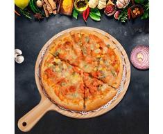 LIOOBO Bandeja de madera de bambú de la porción del queso de la fruta de la tabla de cortar de la cáscara de la pizza de la pizza
