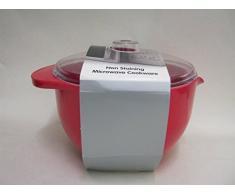 Easy Cook olla de1,2 litros de carbonato para microondas, con tapa, rojo