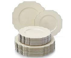 VAJILLA PARA FIESTAS DESECHABLE DE 40 PIEZAS | 20 platos grandes | 20 platos para ensalada/postre | Platos de plástico resistente | Para bodas y comidas de lujo (Baroque Collection – Marfil)