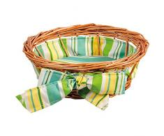 Kesper 17910 pan, cesta de mimbre con forro textil, redondo, altura: 80 mm, diámetro: 220 mm