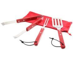 Idelice PR263760A Lote de 3 utensilios barbacoa + Estuche para ordenar de acero inoxidable/Madera roja