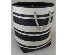Bolsa suave y redondo grande plegable para el juguete, ropa o el almacenamiento de lavandería. Rayas negras y blancas de diseño