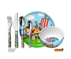 WMF Vicky el Vikingo - Vajilla para niños 6 piezas, incluye plato, cuenco y cubertería (tenedor, cuchillo de mesa, cuchara y cuchara pequeña) Kids infantil