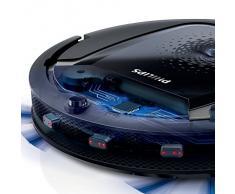 Philips SmartPro Active - Robot aspirador, sistema de limpieza de 3 fases, tiempo de funcionamiento de 90 minutos, color negro y titanio