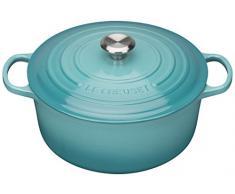 Le Creuset Evolution - Cocotte redonda, de hierro colado esmaltado, 28 cm, color azul caribe