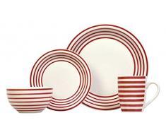 Sabichi Carnaby - Vajilla (cerámica, 16 piezas), color rojo