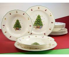 Creatable 16183 4 - Vajilla (12 piezas, porcelana), diseño de árbol de Navidad