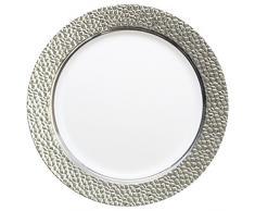 DECORLINE - efecto de martillo - blanco con plata - plástico Estable elegante vajilla desechable (Placa de 26 cm)