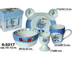 DONREGALOWEB Vajilla Infantil de 4 Piezas en cerámica con Bandeja, Bol, huevera y mug en Color Blanco y Azul