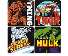 Marvel - Set de 5 posavasos, diseño retro de superhéroes de Marvel