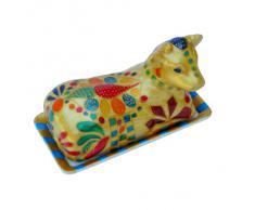 Mantequera con tapa de Vaca, Pintada a Mano en Diseño original 'Reina de Saba' Caja de Regalo