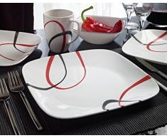 Corelle - Juego de vajilla de 16 piezas, de vidrio Vitrelle resistente a las roturas y las desportilladuras, modelo Fine Lines, servicio para 4 personas, color rojo/negro