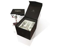Vin Bouquet Aireator with 1,5 litros Wine Decanter Set Cofre Regalo Incluye Airedaor Instantaneo, Decantador, Base y Funda de Terciopelo, Cristal de Bohemia, 27x23x30 cm