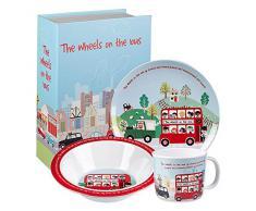 Little Rhymes - Vajilla (3 piezas, melamina), diseño de autobús inglés de doble piso