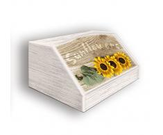Lupia Caja para Pan, diseño de Sunflowers en Madera, fantasía 30 x 40 x 20 cm