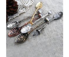 Aliciashouse Francés estilo Retro grabado cucharaditas de vajilla de acero inoxidable-cobre