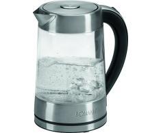 Bomann WK 5023 - Hervidor de agua eléctrico 1,7 litros, recipiente cristal sin BPA, resistencia oculta, 2200 W apagado automático al alcanzar la ebullición, inalámbrico 36º sin cable, filtro de cal