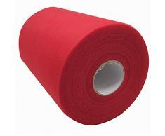 Carrete de tela de tul de 15,2 cm x 91,4 m, 59, colores disponibles, para caminos de mesa, sillas, lazos, faldas, costura, manualidades, tela para boda, fiesta, regalos. rosso