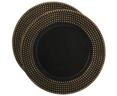 COM-FOUR® 2x Placa decorativa de plástico color negro dorado - Plato de corona de Adviento para Navidad - Platos para bodas y celebraciones familiares