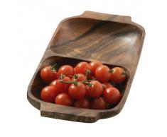 Premier Housewares - Bandeja o fuente rectangular para aperitivos con asas (madera de acacia, 2 secciones - 4 x 32 x 18 cm)