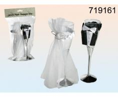 Pareja - plástico-copa de champán con tul conjunto de 2 novia y novio