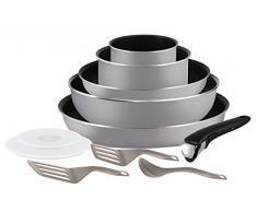 Tefal Ingenio Essential - Set de 5 piezas de aluminio con mango extraíble, sartenes de 24 y 28 cm + Wok de 26 cm + cazos de 16 y 20 cm + 2 tapas + 3 espátulas + 1 mango intercambiable
