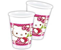 Pack 8 Vasos Plástico 200 cc Hello Kitty Hearts