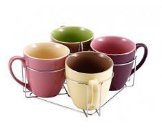 5-unidades Tazas-set con soporte 580 ml - Cerámica - China - tazas de café - vajilla - taza - Michal - vasos-Set - copas
