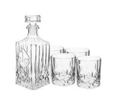 VisioBrands - Juego de botella y vasos para whisky (jarra de 0,75 l, 4 vasos)