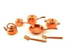 Conjunto de utensilios de cocina y cacerolas de cobre 7 piezas en miniatura para casas de muñecas