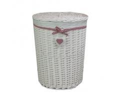 JVL - Cesto tejido redondo para ropa sucia (incluye tapa), diseño con lazo y corazón, color rojo y blanco