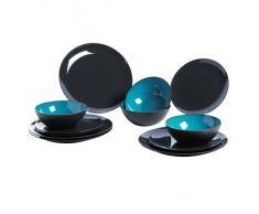 Gimex - Vajilla de melamina (12 piezas), color gris y azul