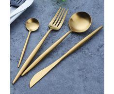 Buyer Star Cubiertos de Oro Acero Inoxidable 4 piezas Lujo Cubertería Vajilla Cuchillo Tenedor Cuchillo Dorado Vajilla para 1 Persona