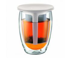Bodum - K11153-913 - Tea For One - Tetera individual - 0,35 l - vaso térmico de borosilicato - filtro y tapa de plástico - color blanco crema