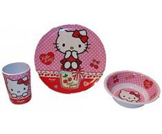 Hello Kitty - Vajilla infantil (plato, cuenco para cereales y vaso, de melamina)
