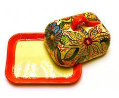 MANTEQUILLERA en ceramica hecha y pintada a mano con decoración flor. 16,5 cm x 13 cm x 10 cm (NARANJA)