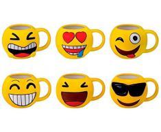 Comuniones Regalos de Comuniones Ni/ños//Ni/ñas Emoticonos para Ni/ños Infantiles Bautizos Mugs Desayuno para Regalos y Detalles de Bodas DISOK Lote 24 Tazas Emoticonos Juveniles Tazas Emojis