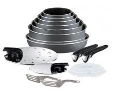 Tefal L0289702 Ingenio 5 - Set de cocina de 17 piezas de aluminio antiadherente (cacerola, sartén, wok, tapas y accesorios), color gris