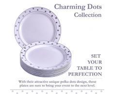 VAJILLA PARA FIESTAS DESECHABLE DE 20 PIEZAS   20 platos para ensalada/postre  Platos de plástico resistente   Elegante aspecto de porcelana fina   Para bodas y comidas de lujo (Dots - Plata - 19 cm)