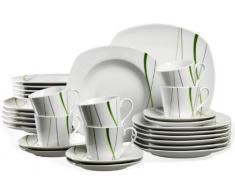Ritzenhoff & Breker 594171 - Vajilla (30 Piezas), Color Blanco y Verde