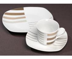 Ritzenhoff & Breker Moreno 032062 - Vajilla con diseño de rayas (30 piezas), color blanco y marrón