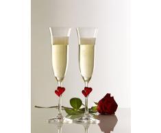 Copas para vino espumoso LŽAmour de Stölzle Lausitz con corazones rojos, de 175 ml, juego de 2, aptas para lavavajillas: Romántico dúo de copas para disfrutar en pareja del vino espumoso