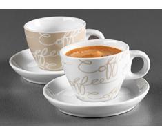 Ritzenhoff & Breker Juego de Café Espresso Cornello, 2 Tazas con Plato, Crema, 80ml