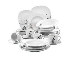 VEWEET 'Melody' Vajilla de Porcelana Juegos de Plato 30 Piezas con 6 Tazas de café 175ml,6 platillo, 6 Platos de Postre, 6 Platos de Comedor y 6 Platos de Sopa vajilla para 6 Personas