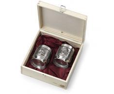 Artina 10512 - Juego de 2 vasos de whisky en caja de madera, diseño de barco La Paloma