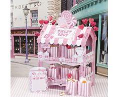 Talking Tables confitería/dulcería rosa decorativa. Estilo retro, con dos niveles, una decoración ideal para los cumpleaños o bodas.