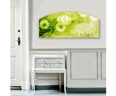Perchero de pared banjado - 80 x 35 x 5 cm con diseño de perchero de madera de la forma redonda y en forma de arco de acero inoxidable con tapa de pared con diseño de jarrón de colour verde 5
